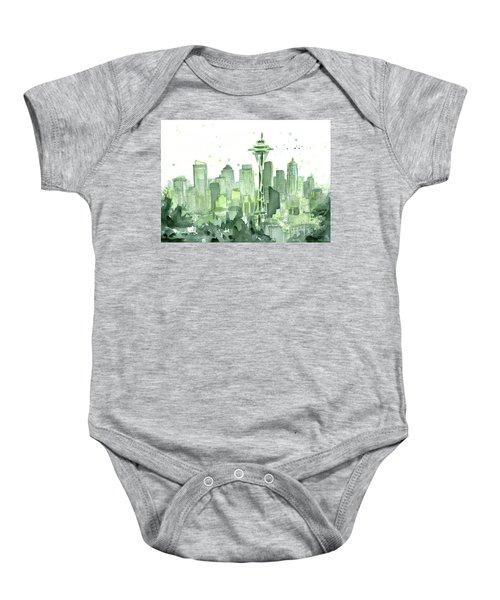 Seattle Watercolor Baby Onesie