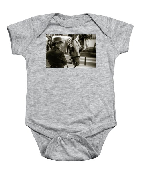 Sepia Carriage Horse With Handler Baby Onesie