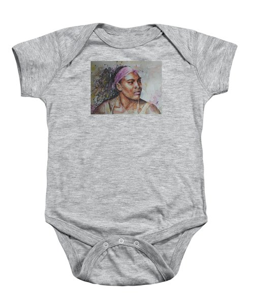 Serena Williams - Portrait 6 Baby Onesie by Baresh Kebar - Kibar