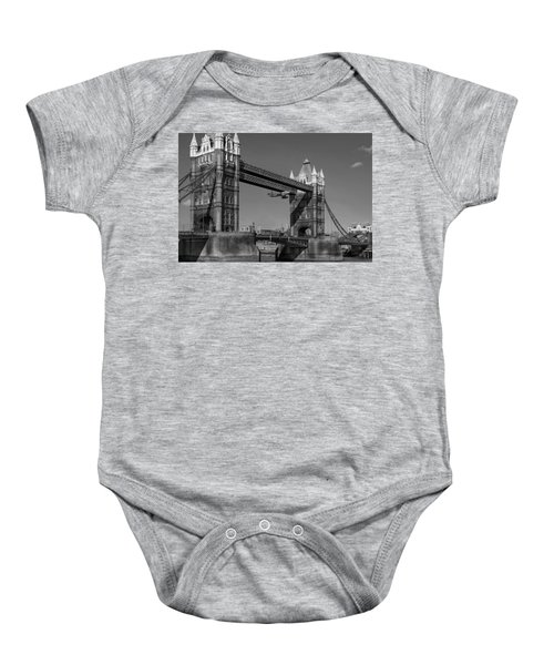 Baby Onesie featuring the photograph Seven Seconds - The Tower Bridge Hawker Hunter Incident Bw Versio by Gary Eason