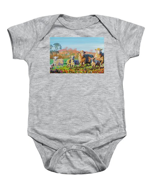 Sheep And Lambs In Devon Landscape Bright Colors Baby Onesie