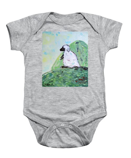 Sheep On A Hill Baby Onesie