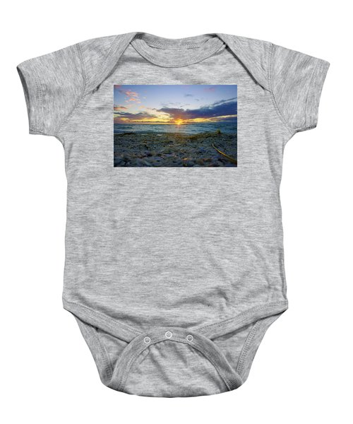 Shells On The Beach At Sunset Baby Onesie