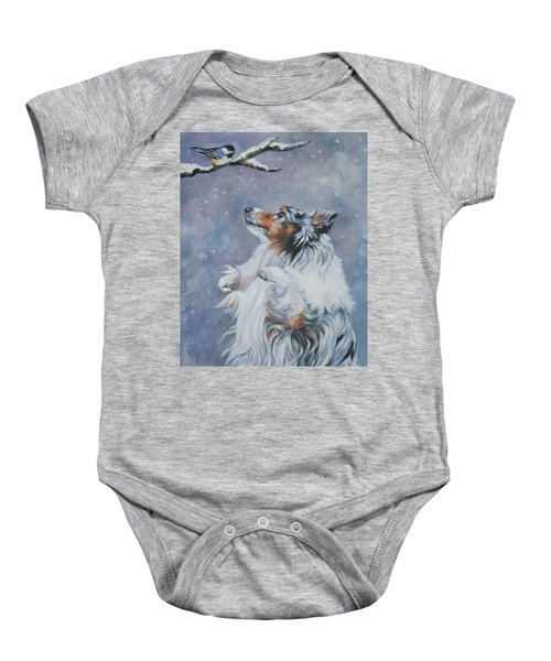 Shetland Sheepdog With Chickadee Baby Onesie