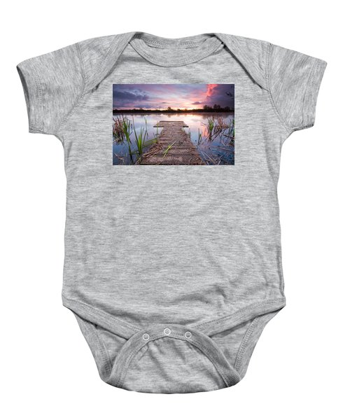 Shinewater Lake Sunrise Baby Onesie