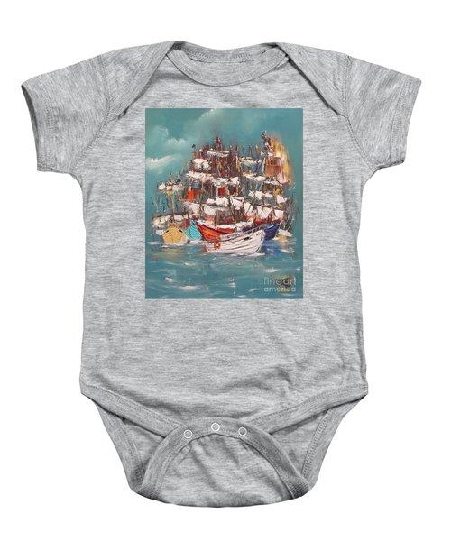 Ship Harbor Baby Onesie