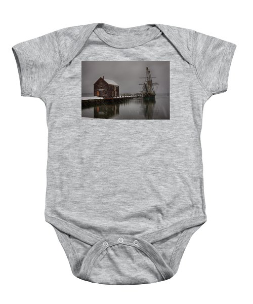 Silently The Snow Falls. Baby Onesie
