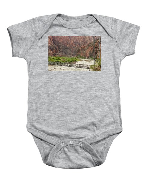 Silver And Black Bridges Over The Colorado, Grand Canyon Baby Onesie