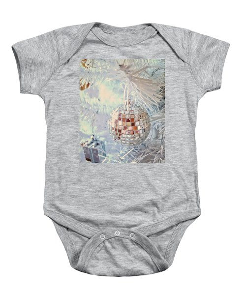 Silver And White Christmas Baby Onesie