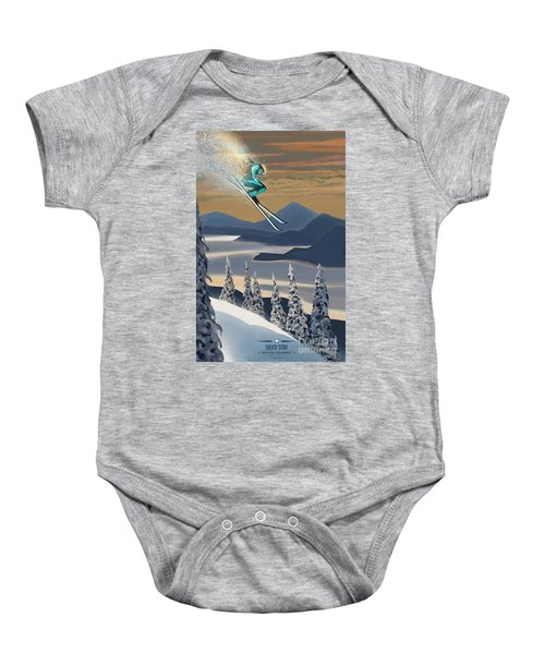 Silver Star Ski Poster Baby Onesie