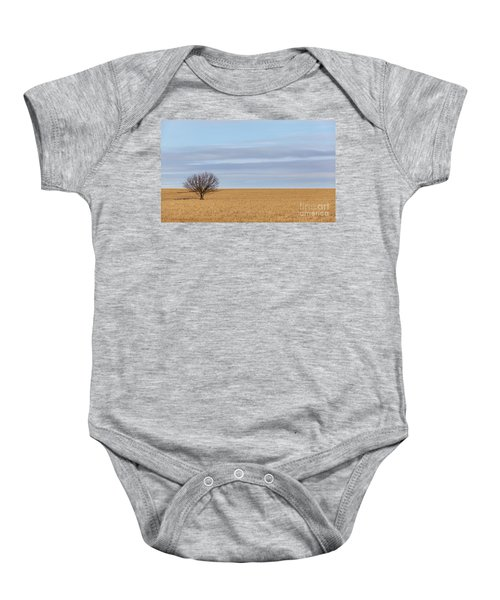 Single Tree In Large Field With Cloudy Skies Baby Onesie