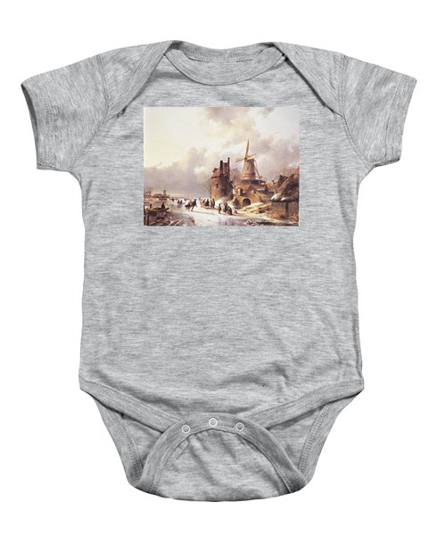 Skaters On A Frozen River Baby Onesie