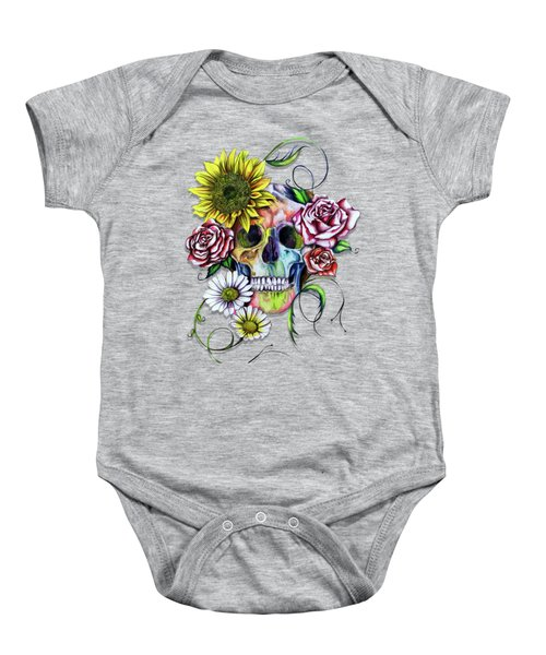 Skull And Flowers Baby Onesie by Isabel Salvador