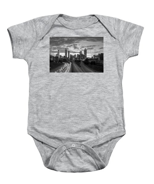 Slow Go Home Atlanta Downtown Black And White Art Baby Onesie