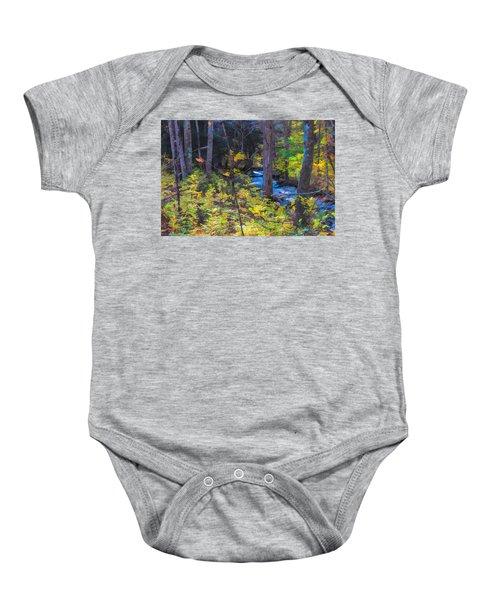 Small Stream Through Autumn Woods Baby Onesie
