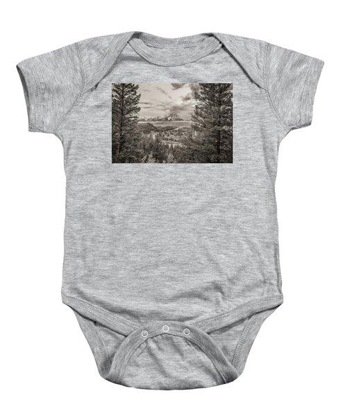 Snake River Overlook Grand Teton Monochromatic Baby Onesie