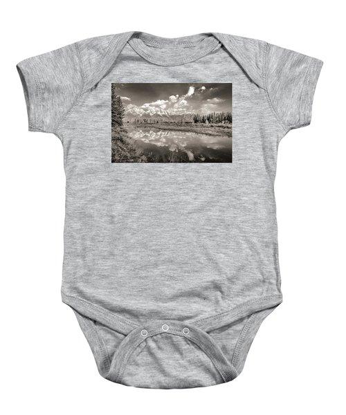 Snake River Reflection Grand Teton Monochromatic Baby Onesie