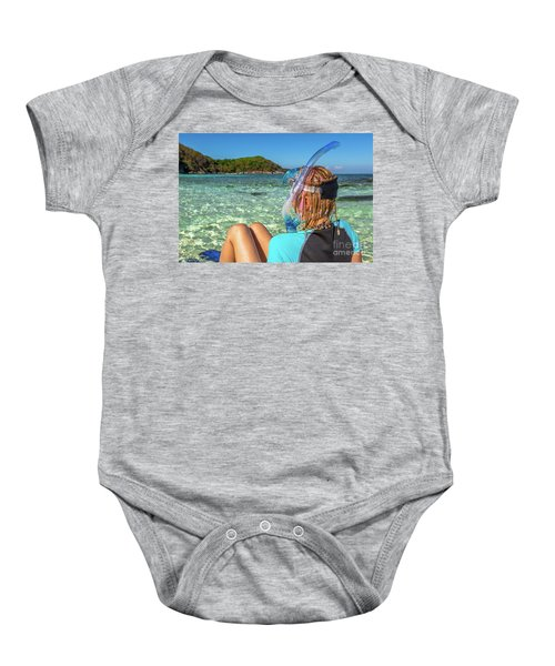 Snorkeler Relaxing On Tropical Beach Baby Onesie