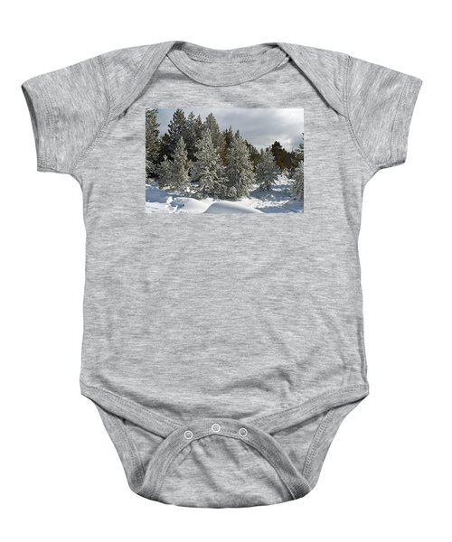 Snow And Ice Covered Evergreens At Sunset Lake  Baby Onesie