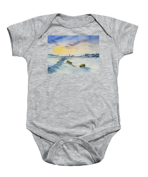 Snow And Sheep On The Moors Baby Onesie