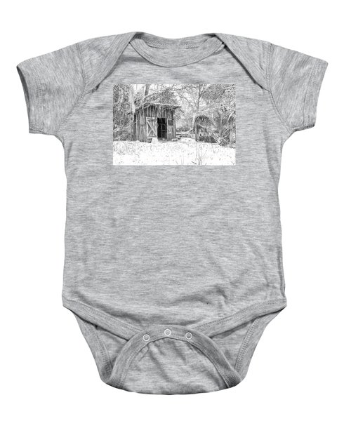 Snow Covered Chicken House Baby Onesie