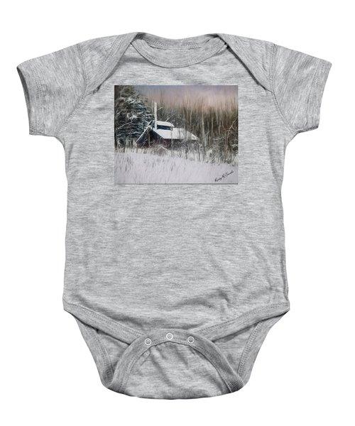 Snow Covered Vermont Sugar Shack.  Baby Onesie