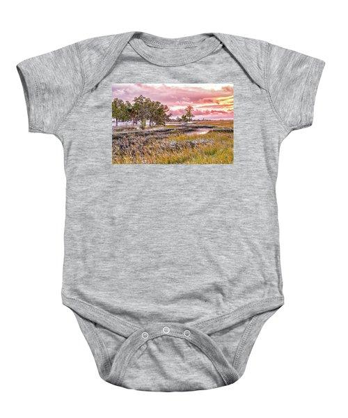 Snow Sunset -marsh View Baby Onesie