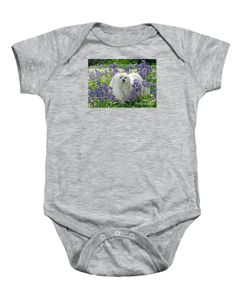 Baby Onesie featuring the mixed media Snowdrop In The Bluebell Woods by Morag Bates