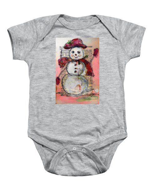 Snowman With Red Hat And Mistletoe Baby Onesie