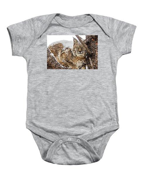 Snowy Bobcat Baby Onesie