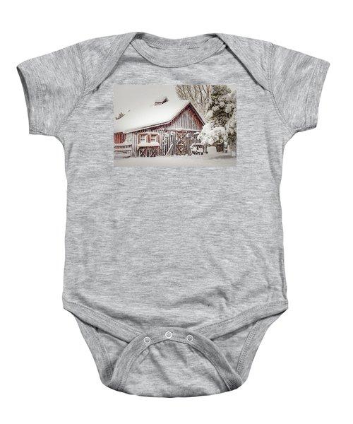 Snowy Country Barn Baby Onesie