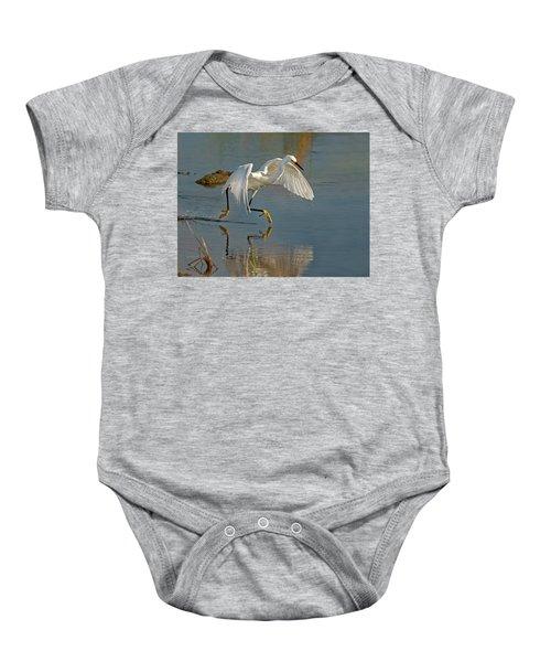 Snowy Egret On The Move Baby Onesie