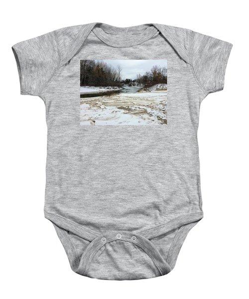 Snowy Elk Rapids River Baby Onesie