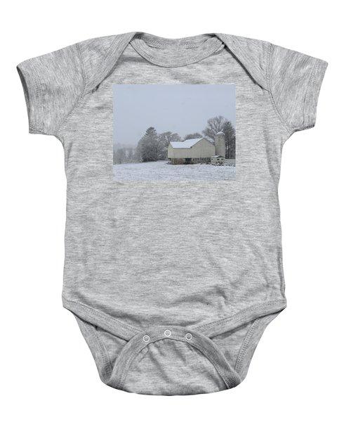 Winter White Farm Baby Onesie