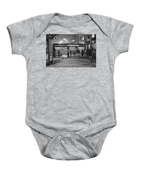 Snowy Harvard Square Night- Harvard T Station Black And White Baby Onesie