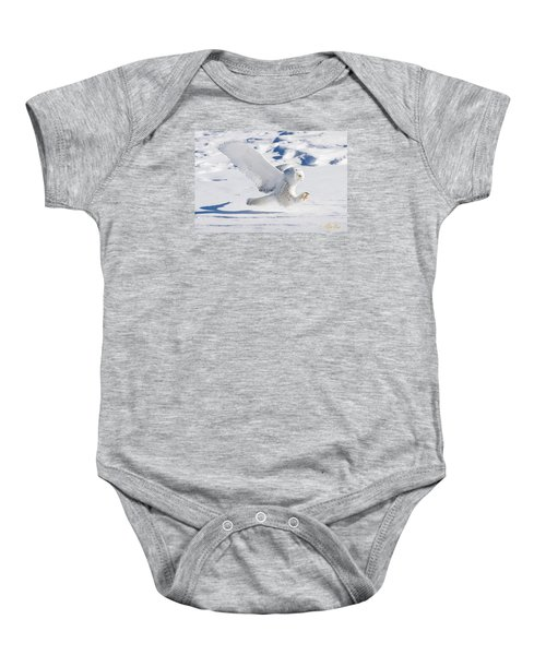 Baby Onesie featuring the photograph Snowy Owl Pouncing by Rikk Flohr