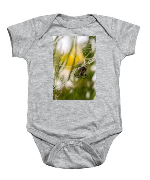 Spider And Spider Web With Dew Drops 04 Baby Onesie
