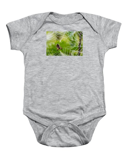 Spider And Spider Web With Dew Drops 05 Baby Onesie