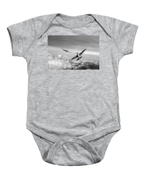 Baby Onesie featuring the photograph Spitfire Attacking Heinkel Bomber Black And White Version by Gary Eason