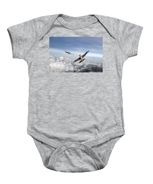 Baby Onesie featuring the photograph Spitfire Attacking Heinkel Bomber by Gary Eason