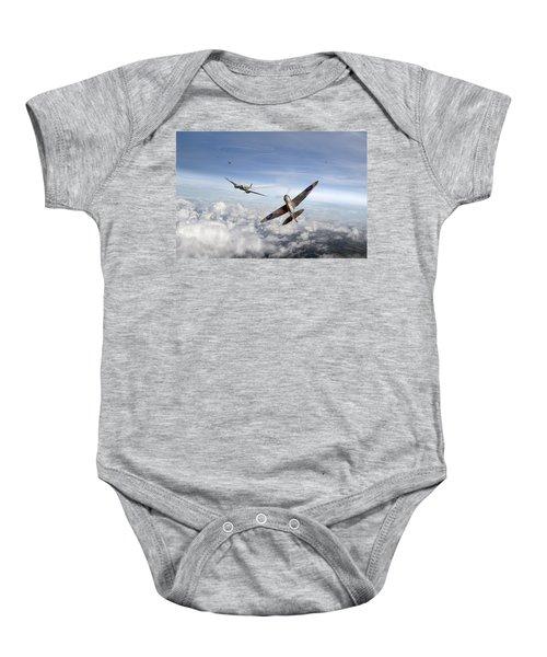 Spitfire Attacking Heinkel Bomber Baby Onesie