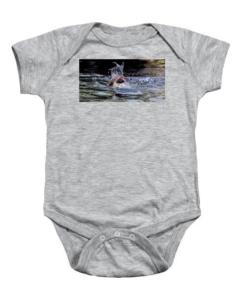 Splashing Humboldt Penguin Baby Onesie