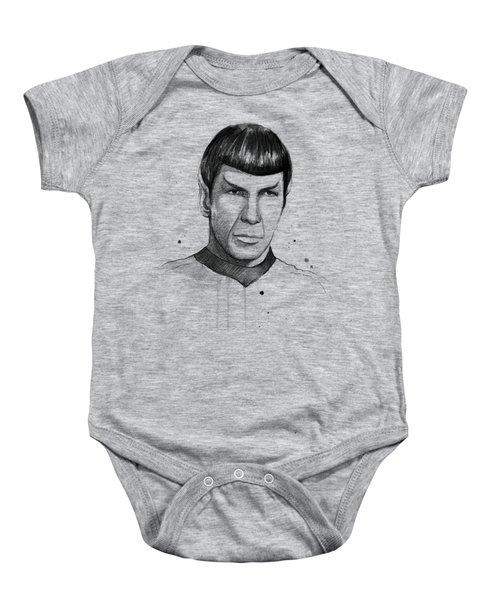Spock Watercolor Portrait Baby Onesie by Olga Shvartsur