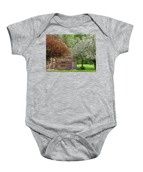 Spring Flowers And The Barn Baby Onesie