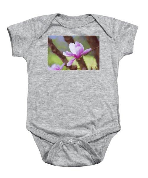 Spring Pink Saucer Magnolia Baby Onesie