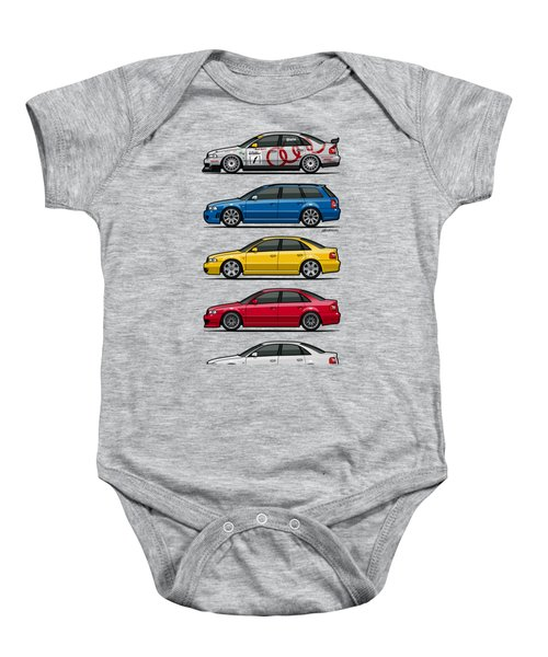 Stack Of Audi A4 B5 Type 8d Baby Onesie by Monkey Crisis On Mars