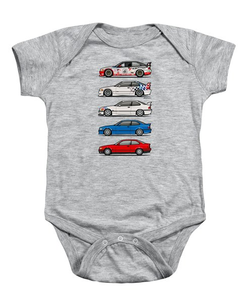 Stack Of Bmw 3 Series E36 Coupes Baby Onesie