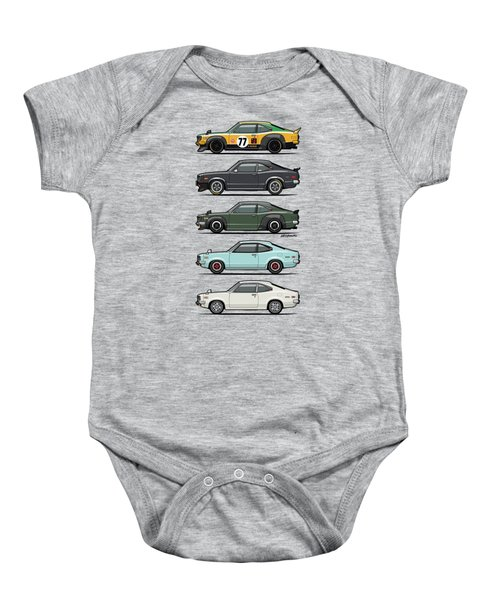 Stack Of Mazda Savanna Gt Rx-3 Coupes Baby Onesie by Monkey Crisis On Mars