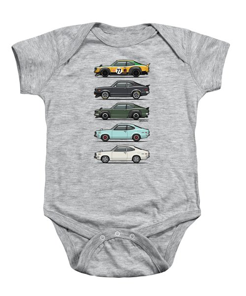 Stack Of Mazda Savanna Gt Rx-3 Coupes Baby Onesie