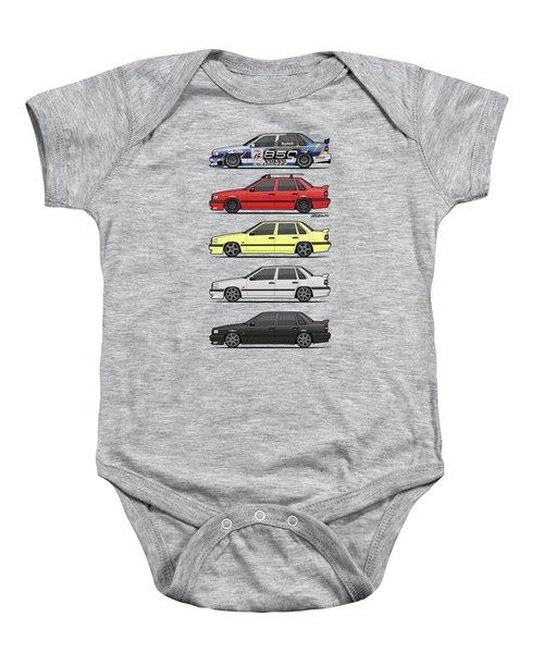 Stack Of Volvo 850r 854r T5 Turbo Saloon Sedans Baby Onesie by Monkey Crisis On Mars